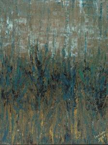 Chwile ciszy (2020) - Izabela Drzewiecka - abstrakcja, dominuje ciemnozielony kolor