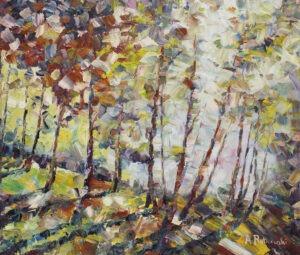 Świetlisty las III (2019) - Adam Piotr Rutkowski - pejzaż leśny, światło, drzewa