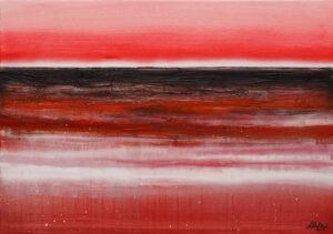 Morze rewolucji (2020) - Ludmiła Kufel-Rutkowska - pejzaż morski, dominuje czerwony kolor i jego odcienie, na horyzoncie ciemnoczerwony wpadający w czerń pas.