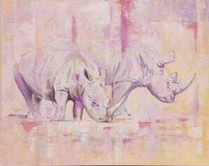 Poranek (2021) - Paulina Lewandowska - różowe nosorożce