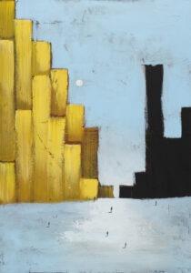 Miejski horyzont (2021) - Filip Łoziński - żółte i czarne budynki w mieście na błękitnym tle