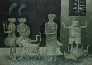 W grupie - Andrzej Tobis - czerno-zielony obraz z grupą postaci i psem