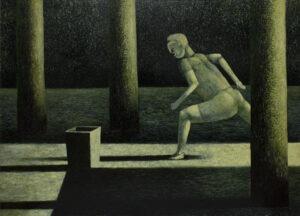 Podobno biega również nocą - Andrzej Tobis - zielono-czarny obraz z biegnącą postacią