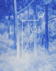 Geometria w lesie - Andrzej Tobis - niebieski obraz z białym detalem