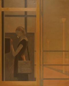 Telefon - Andrzej Tobis - pomarańćzowy obraz z kobietą w budce telefonicznej