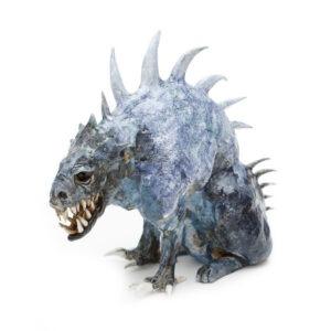 Bestia - Aneta Śliwa - rzeźba szkliwiona na niebiesko, potwór z zębami