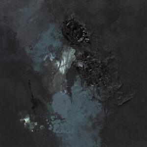 Maska czy twarz S340 - Aleksandra Modzelewska - czarny obraz z zielonymi detalami z trójwymiarową twarzą