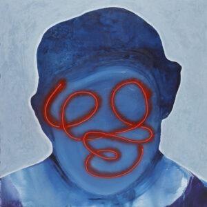 Maska czy twarz s451 - Aleksandra Modzelewska - niebieska twarz z czerwonym detalem