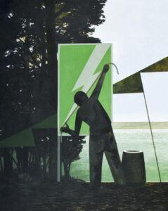 Pomiar - Andrzej Tobis - zielono-czarny obraz z mężczyzną mierzącym piorun
