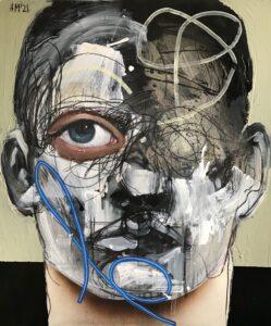 Maska czy twarz S236 - Aleksandra Modzelewska - ekspresyjny portret, twarz w szarościach