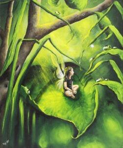 Beata Mura - zielony obraz z dziewczynką ze skrzydłami