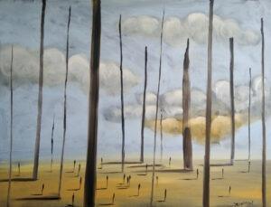pustkowie - filip Łoziński - pejzaż, drobne postacie na ziemi, pośród nich strzeliste kolumny, lekko pochmurne niebo