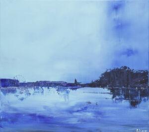 blue valentine - yuliya stratovich - błękitny pejzaż miejski