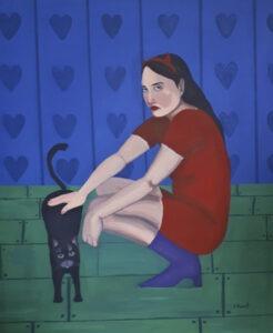 good time - agata burnat - kobieta kucając głaszcze czarnego kota