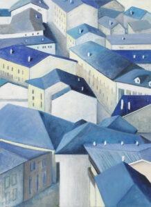 pejzaż miasta i - Iza Jaśniewska - pejzaż miejski, niebieskie dachy