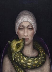 Iza staręga - Rem - portret kobiety w turbanie ze zwierzęciem na szyi