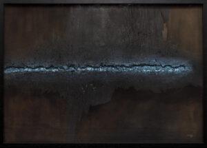 z cyklu żonę 79 - dobiesław Gała - abstrakcja, wyraźna faktura, relief za szkłem, czarno błękitne