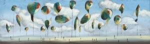 daleko od domu - filip Łoziński - realizm magiczny, na ziemi drobne postacie ludzkie, nad nimi unoszą się balony