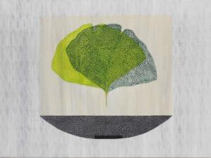 Marlena Wąsowska - obraz z zielonym liściem na jasnym tle