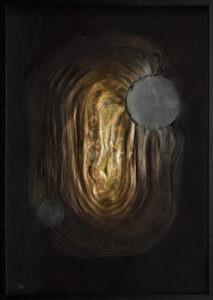 z cyklu epicentrum - dobiesław gała - abstrakcja, relief, czarny, złoty, cień