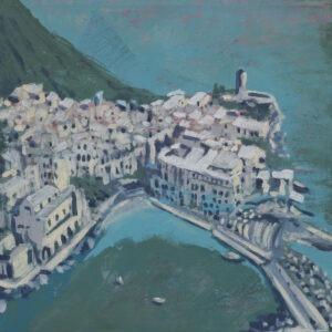 Cinque Terre (2019) - Magdalena Mędzkiewicz - widok na miasteczko nad morzem
