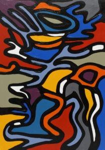 1q101 - paulina ledzion -abstrakcja, kolory oddzielone od ciebie wyraźną czarną linią