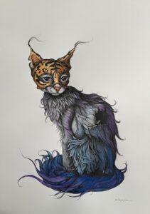 Ewa ProĶczuk-Kuziak - obraz przedstawiający fantazyjnego kota