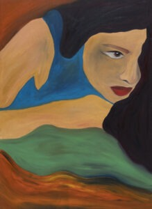 Portret kobiety I - Paulina Ledzion - kobieca postać z długimi włosami