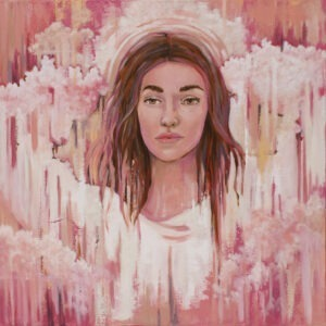 nowy dzień - paulina Lewandowska - portret kobiety, w tle różowa abstrakcja