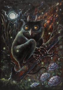 licho - Agata płocica - personifikacja słowiańskiego ducha, Licho, siedząca na gałęzi pośród drzew i krzaków postać łącząca w sobie cechy sowy, kozła, myszy i żaby drzewnej, w tle księżyc w pełni