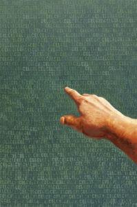 """cel - Andrzej Zujewicz - prawa dłoń z wyciągniętym palcem wskazującym w kierunku drugiego planu, wskazująca na tło składające się z zielonych napisów """"cel"""""""