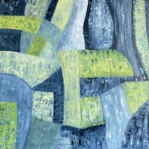 W letnim deszczu, 2021 - Paulina Leszczyńska - zielono-błękitna abstrakcja