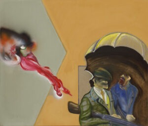 klasa wyższa - Marcin lipiec - w prym dolnym rogu dwie postacie z parasolką i bronią długą, z lewej strony czerwona kompozycja