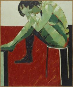 Próba XIV - Anna Drejas - figuratywne malarstwo, czerwony, zielony, kobieta