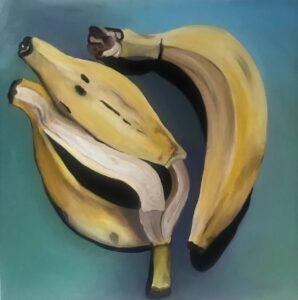 banany - Kamila golec - na obrazie 2 banany, jeden cały, drugi sama skórka