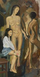chłopak mojej siostry - maciej kempiński - akt, naga młoda kobieta en face, po jej lewej stronie nagi nastolatek stojący tyłem do widza, po jej prawej stronie ubrana nastolatka patrząca na chłopca