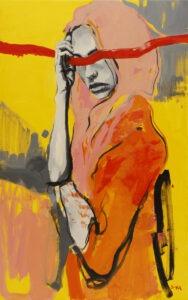 wolność - anna wiegebińska-bączek - kobieta, pomarańczowy, żółty, różowy. Oczy przesłania długa, nierówna czerwona linia