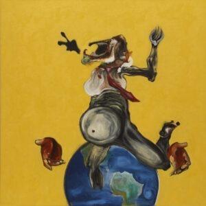 studium polaka - marcin lipiec - postać siedząca na globie