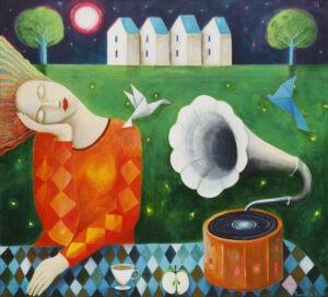 dźwięki melancholii - Mirosław Nowiński - obraz w duchu realizmu bajkowego, śpiąca na siedząco postać z gramofonem obok, w tle zabudowania