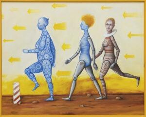 tattoos - Zbigniew olszewski - realizm magiczny, 3 kobiece postacie idące w lewą stronę w tle żółte strzałki ukierunkowane w jedną stronę