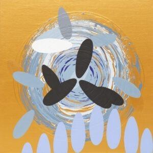 Marek Ejsmond-Ślusarczyk - abstrakcja w złocie z czarnymi i błękitnymi elementami