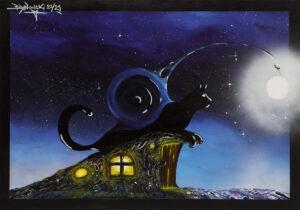 księżycowy koci kemping - Bartłomiej baranowski - realizm magiczny, kot leżący na ziemiance, gwieździste niebo w tle