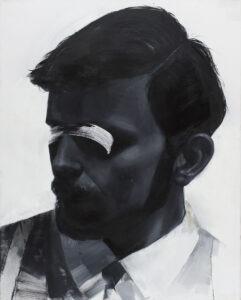 M009 - Izabela Lewkowicz - portret męski w odcieniach szarości na białym tle