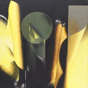 Kulisy - Alina Dorada-Krawczyk - abstrakcja, czarny, żółty, op-art