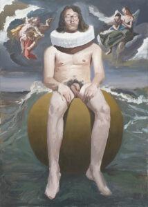 autoportret w kryzie - Tymon tryzno - autoportret stylizowany na malarstwo sakralne