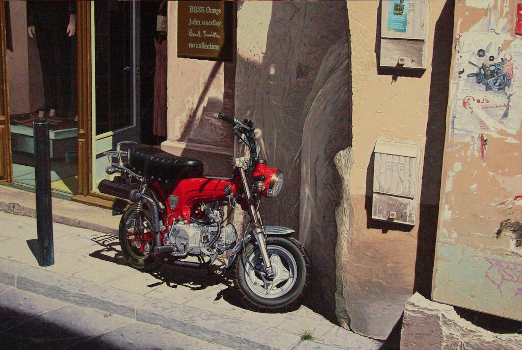 Andrzej Sadowski - obraz z czerwonym motocyklem na ulicy