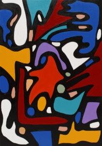 1q100 - paulina ledzion - abstrakcja, żywe kolory, dominuje niebieski i czerwony, kontury wyraźnie oznaczone grubą Czarną linią