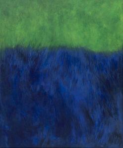 pejzaż - iza Jaśniewska - zielono-niebieski obraz, dominujący niebieski, do 2/3 objętości obrazu