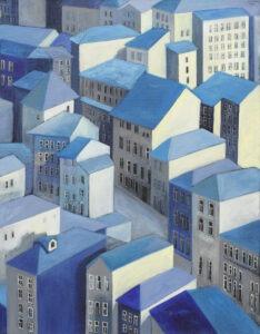 pejzaż miasta ii - Iza Jaśniewska - weduta, 3-4 piętrowe jasne domki o błękitnych dwuspadowych dachach