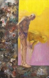 dziadek - angelika korzeniowska - starszy mężczyzna w bieliźnie, abstrakcyjne tło